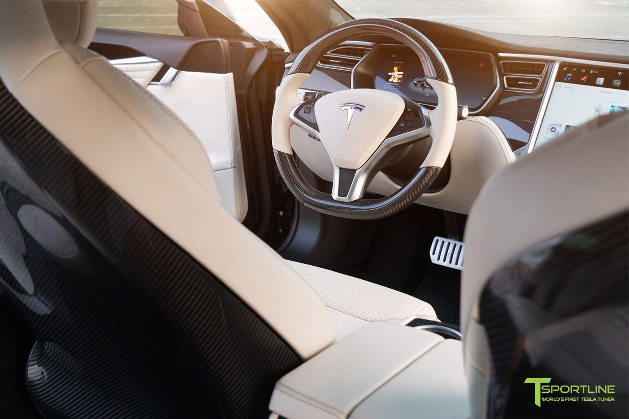 Tesla model  custom interior in bentley linen with gloss carbon fiber steering wheel by  sportline also tsportline on pinterest rh