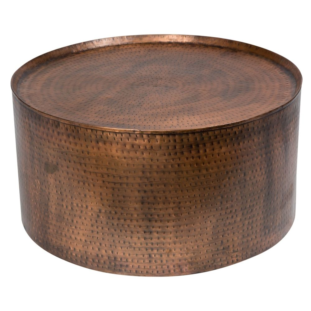 Wanderloot Rotonde Hammered Antique Copper Metal Round Coffee Table