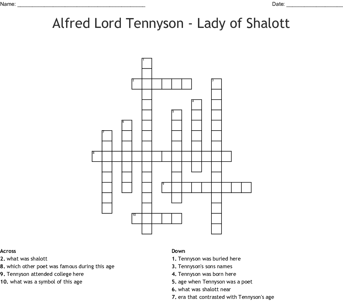 10 question printable alfred lord tennyson - lady of ...