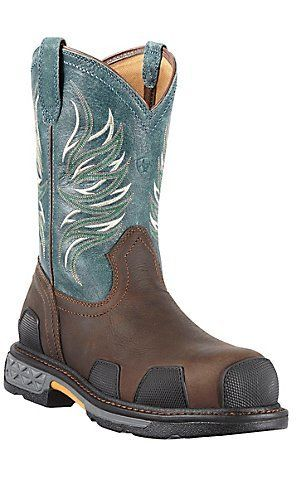 9c46e4e49c1 Ariat Overdrive Mens Dark Brown w/ Blue Ice Composite Square Toe ...