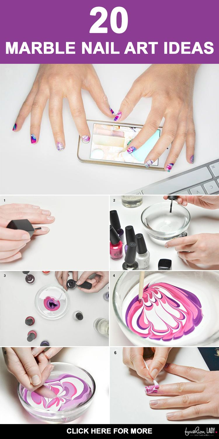 20 Marble Nail Art Ideas With Step By Step Tutorials | Marble nail ...