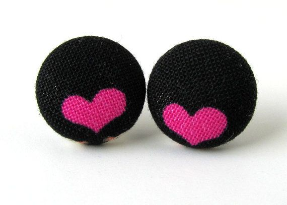 Heart Stud Earrings Funky On Small Fabric Spring