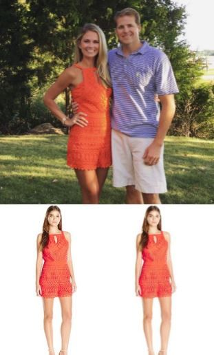 Cameran Eubank's Orange Lace Romper on Instagram August 2016 http://www.bigblondehair.com/reality-tv/southern-charm/cameran-eubanks-orange-lace-romper/ Southern Charm Fashion