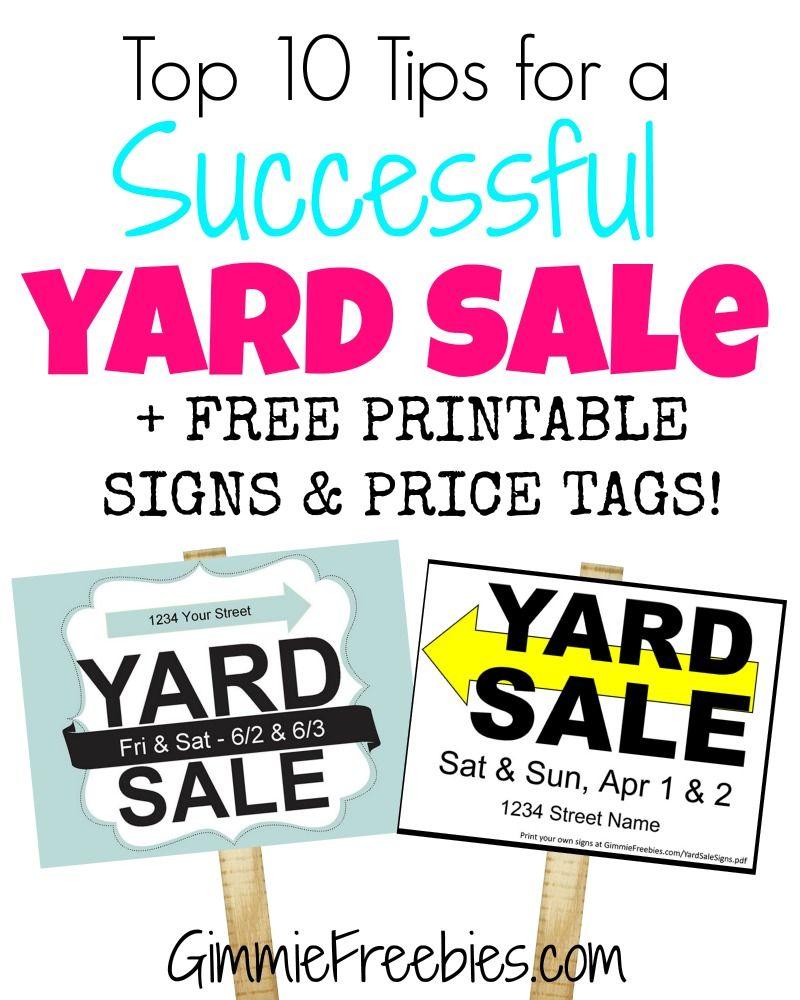 Printable Sign For Sale: Gimmie's Top 10 Yard Sales Tips + Printable Garage Sale