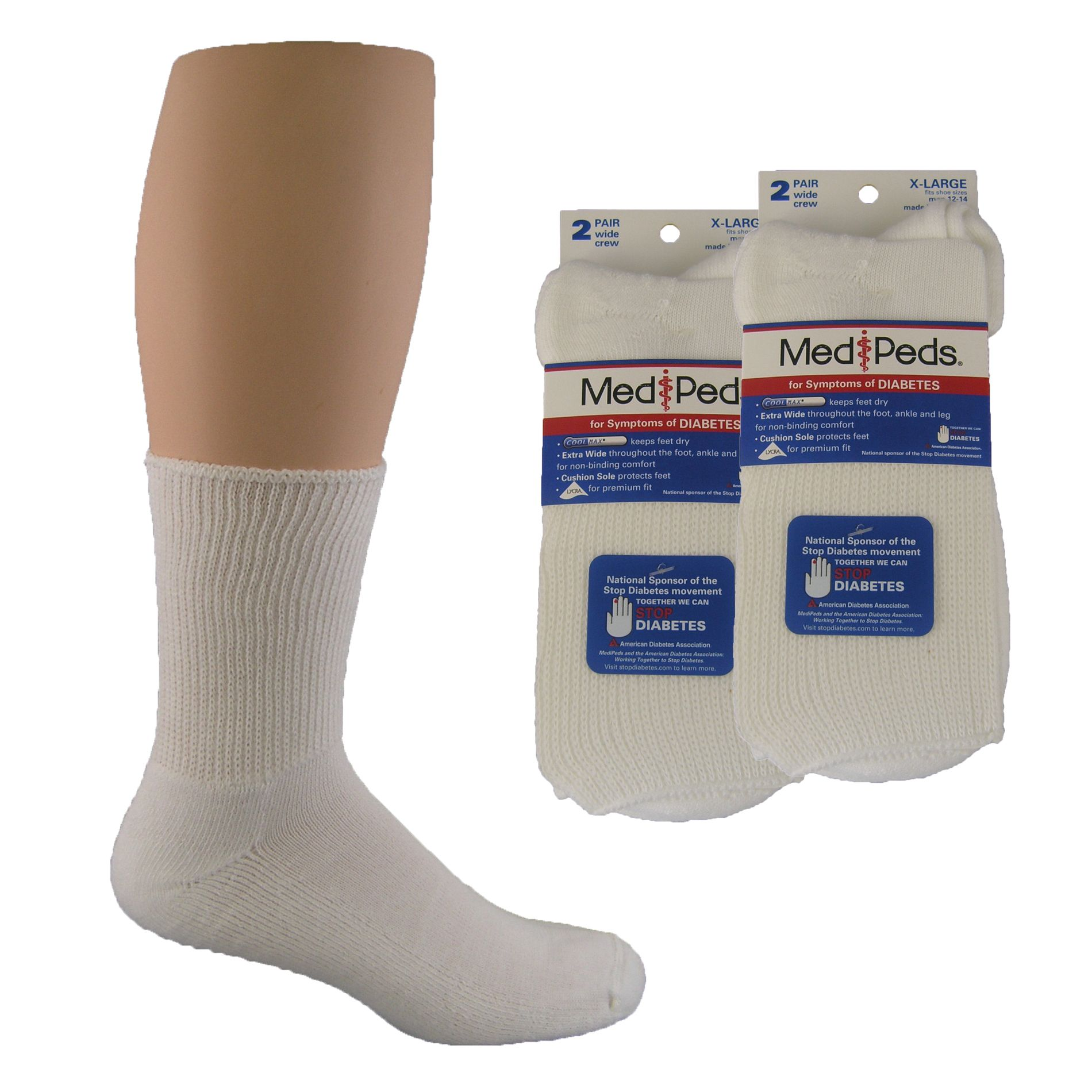 7cff0b80aa4 These MediPeds Diabetic socks are EXTRA Wide Crew sock with Cushion Sole to  Protect Feet.