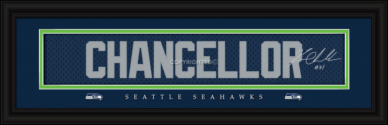 Kam Chancellor Seattle Seahawks Player Signature Stitched Jersey Framed Print