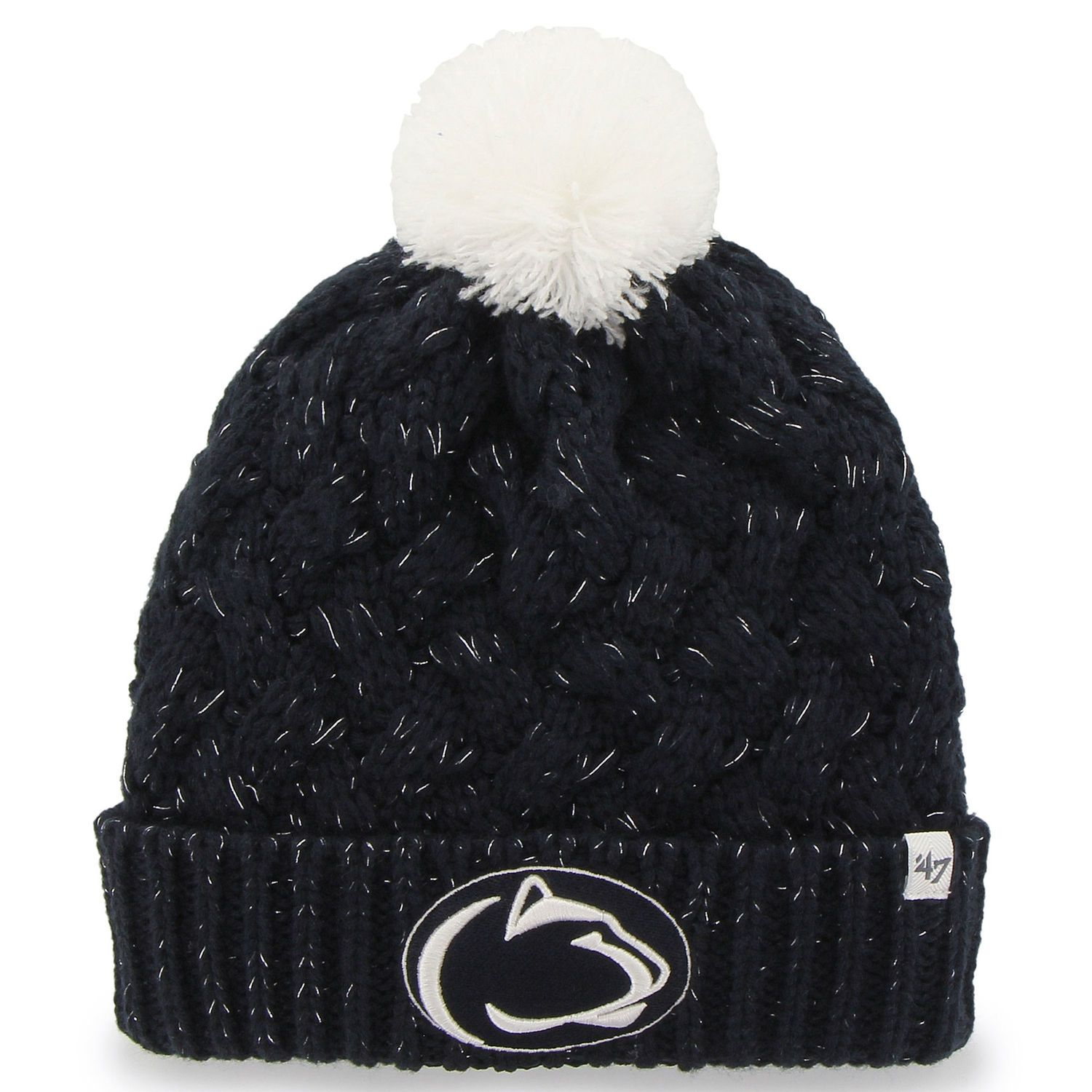 524745ee ... closeout penn state nittany lions 47 brand womens fiona cuff knit  beanie navy blue afe3c 13e02