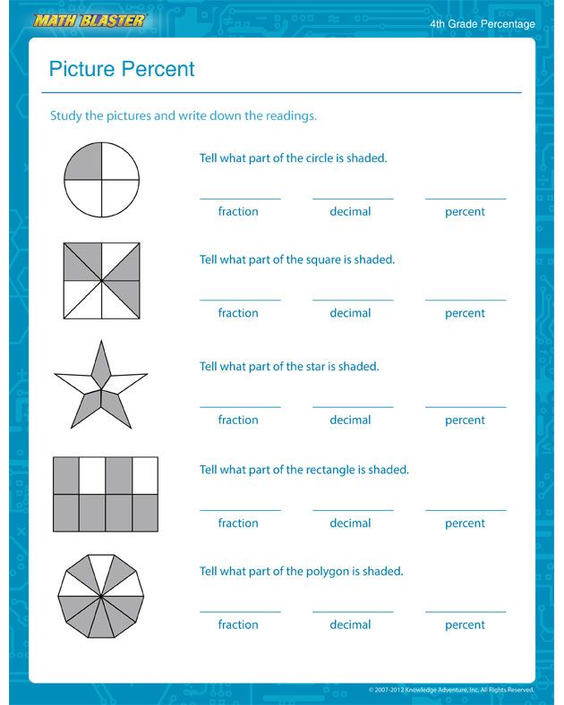 Picture Percent Percentage Worksheet For 4th Grade Kids Percents Math Worksheets For Kids Math Worksheets