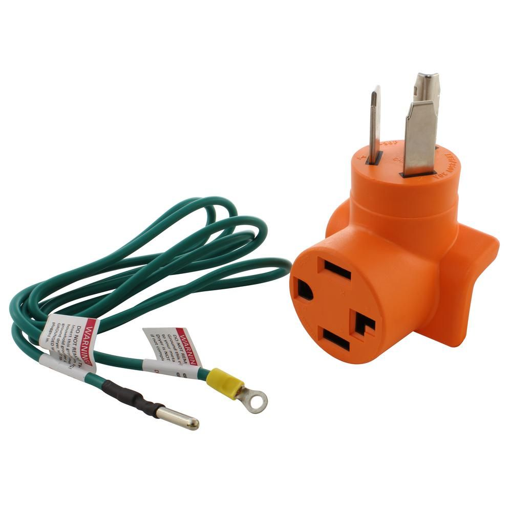 Ac Works Dryer Adapter 3 Prong 30 Amp Dryer Plug To 4 Prong Dryer Female Connector Adapter Orange Dryer Plug Wall Outlets Plugs
