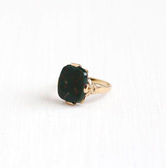 Vintage 10k Yellow Gold Bloodstone Ring - Art Deco Green