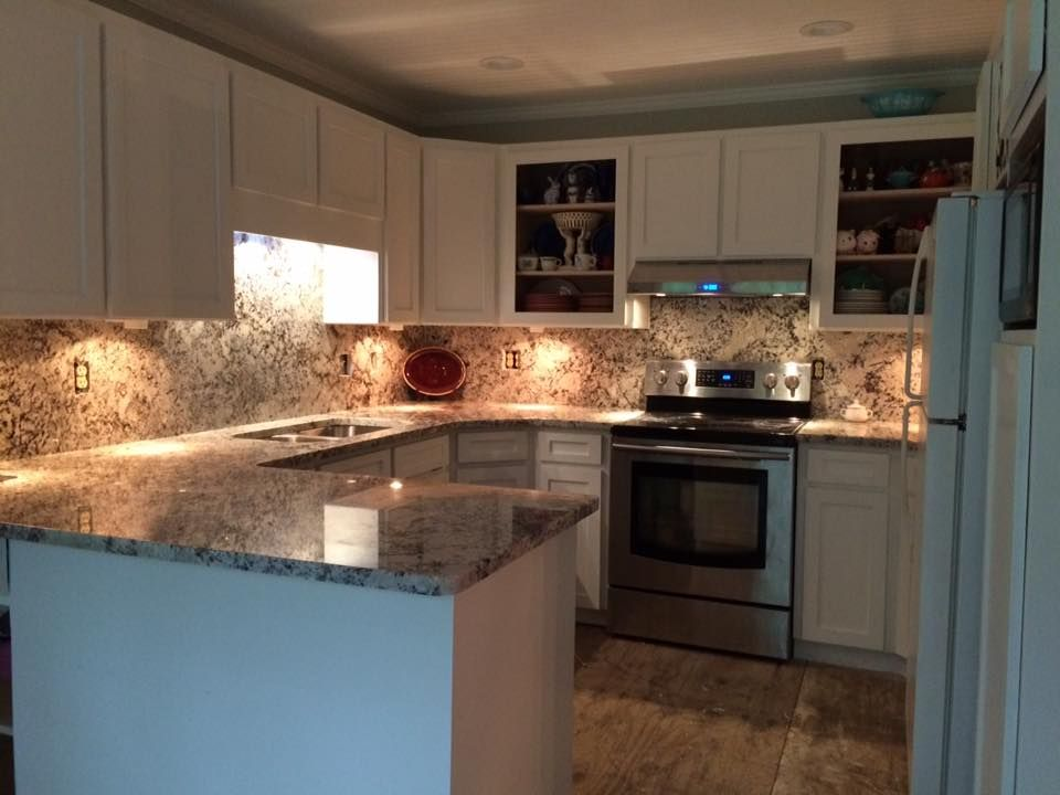 Danube Granite Kitchen Danube Counter Top And Back Splash...White Painted  Cabinets/Chantilly Lace By Benjamin Moore.