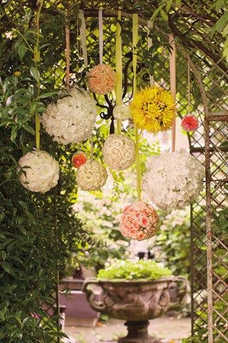 Beautiful for an English country garden Wedding - floral pomanders hanging from an archway