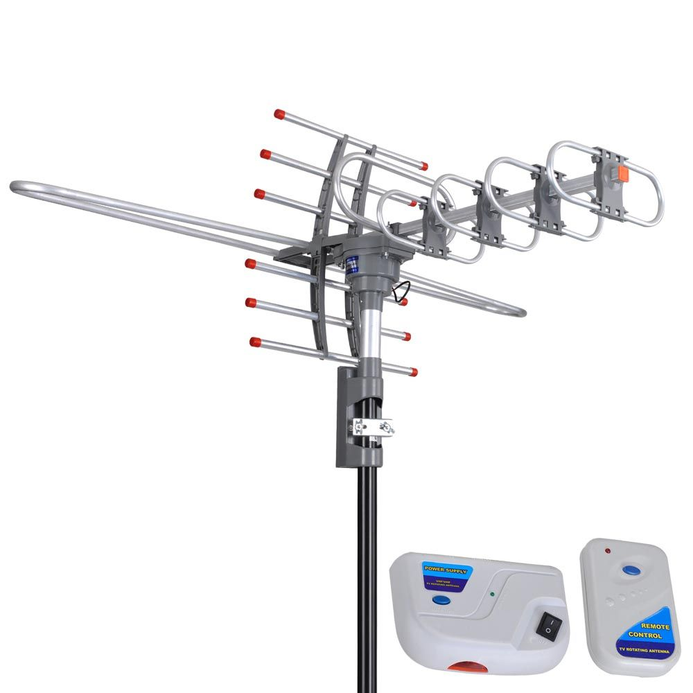 150 Miles VHF UHF FM HDTV Amplified TV Antenna w/ Remote ...
