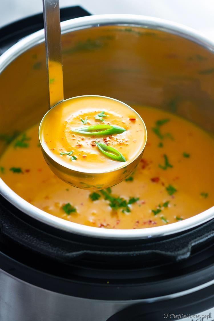 Thai Butternut Squash Soup With Coconut Milk Creamy Spicy Recipe Aromatic Butternut Squash So Butternut Squash Recipes Soup Spicy Recipes Squash Soup Recipe