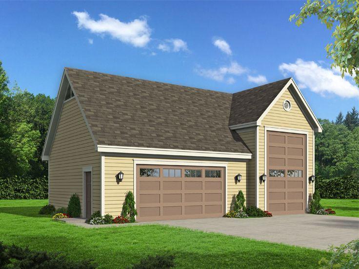062G0157 RV Garage Plan with Attached 2Car Garage Rv