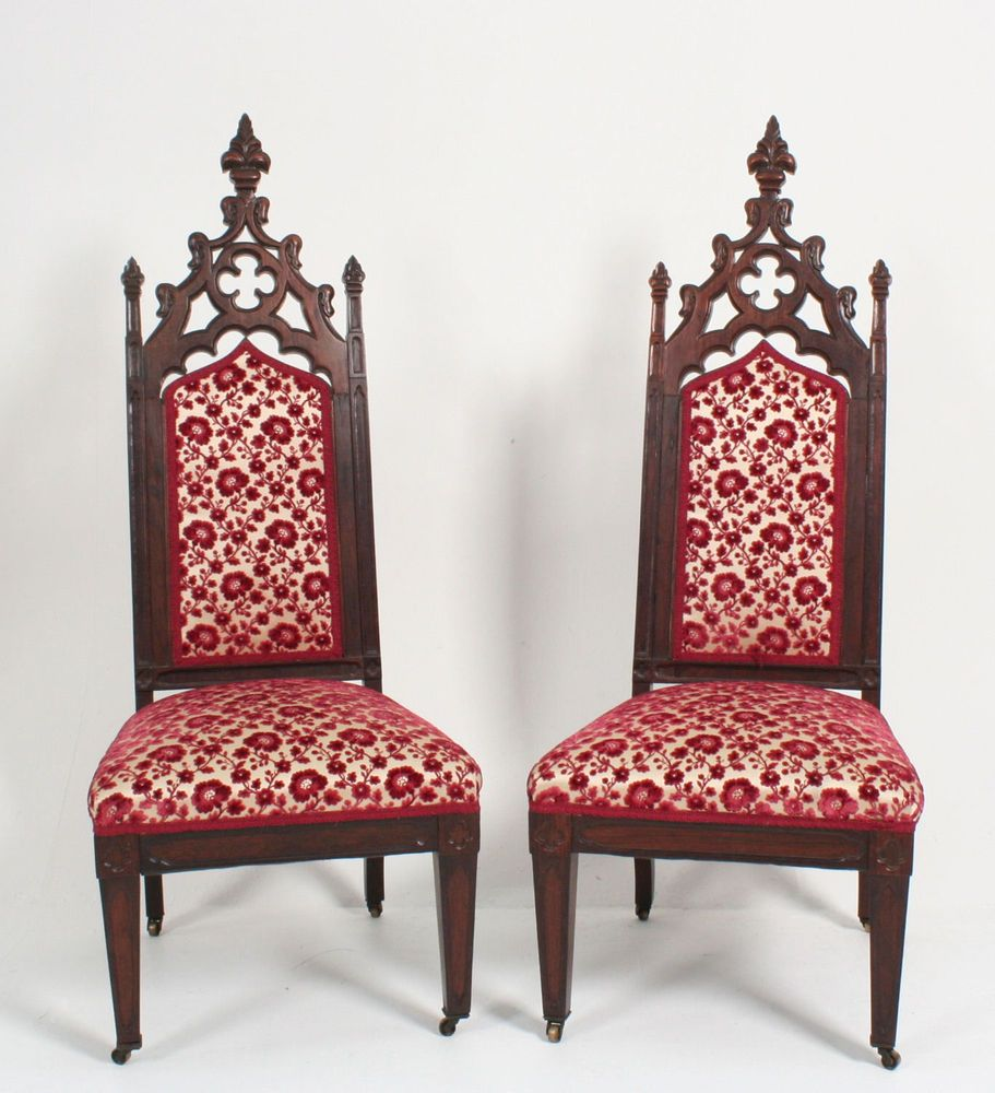 Exceptional Pair Neo Gothic Rosewood Chairs Horace Walpole