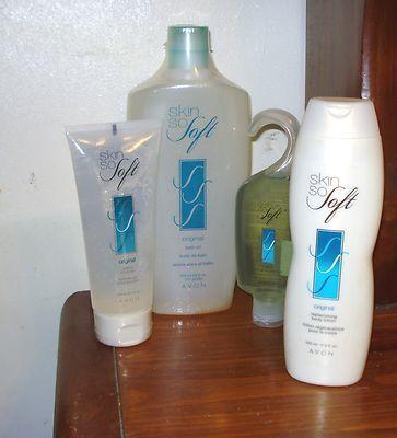 Avon Skin So Soft 4 Piece Gift Set - Bath Oil, Lotion, Gelled Oil, Shower Gel http://www.ebay.com/itm/181255372629?ssPageName=STRK:MESELX:IT&_trksid=p3984.m1555.l2649