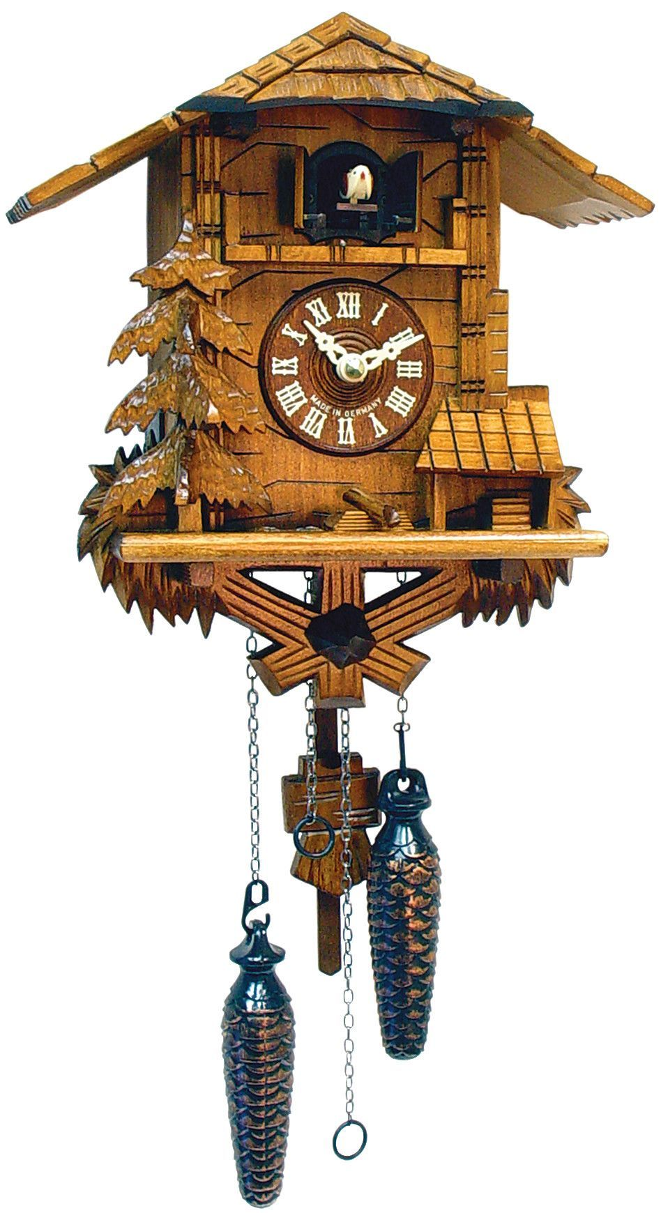 Unusual Cuckoo Clocks features: -trees and 12 alternating tunes. -clock is c battery
