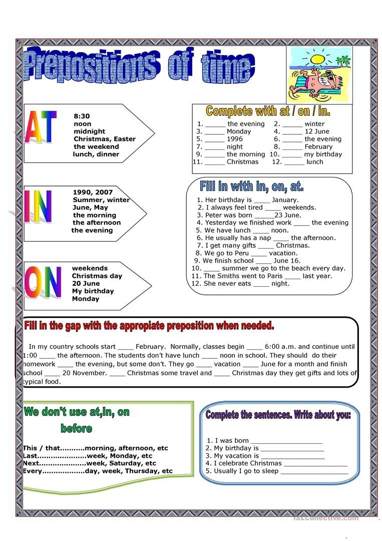 Prepositions of time (With images) Time worksheets