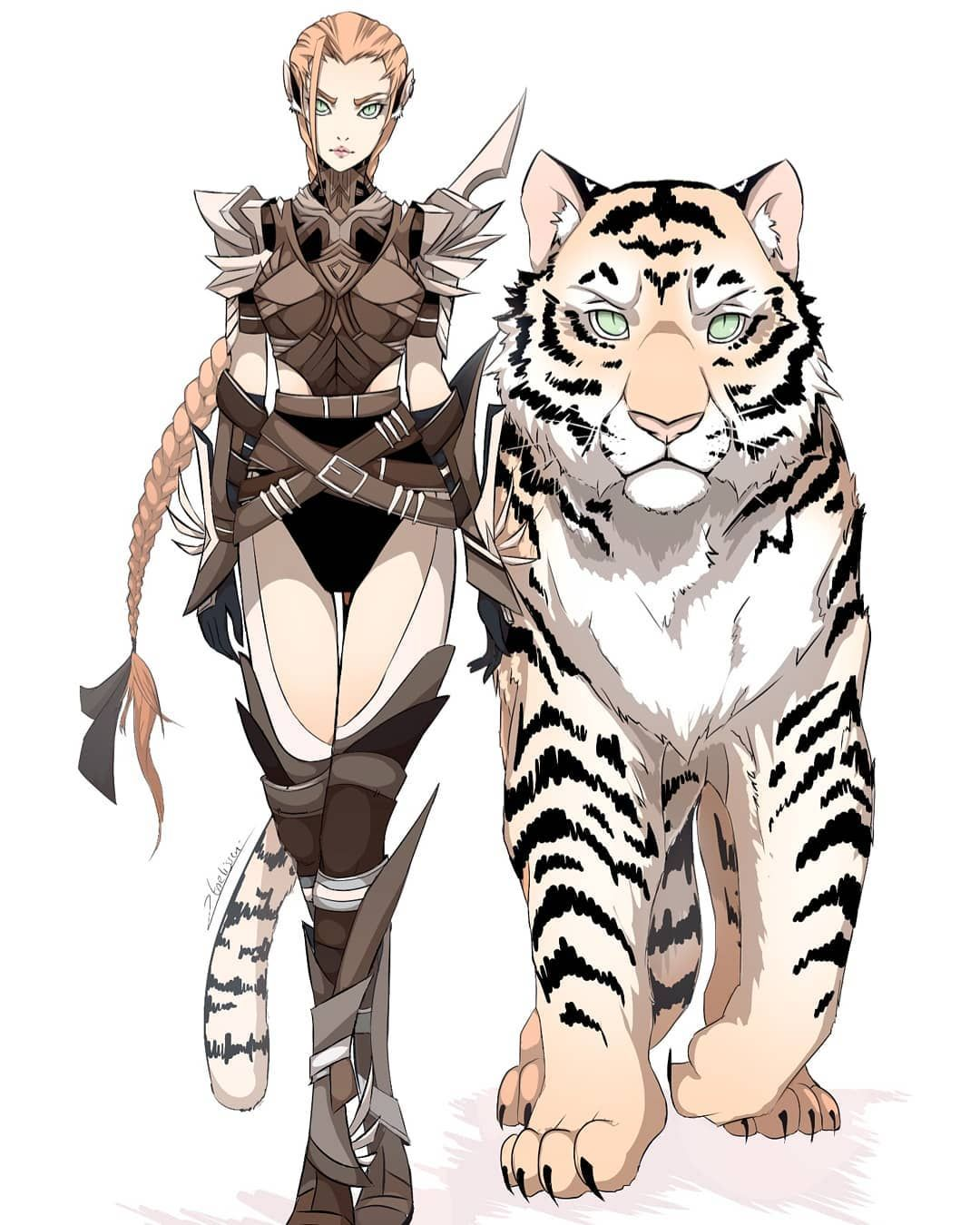 More Concept Art Conceptart Conceptartist Digitalart Tiger Tigergirl Redhead Leatherar Fantasy Art Illustrations Fantasy Character Design Tiger Girl