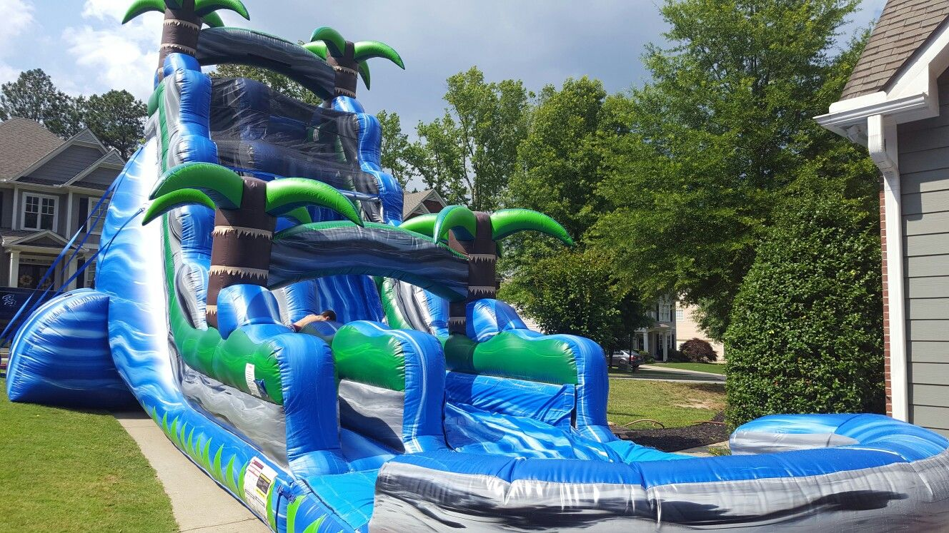 22ft Blue Lagoon Inflatable Waterslide Rentals From Astro Jump Of Atlanta Www Astrojump Com Nwatlanta H Water Slide Rentals Inflatable Water Slide Water Slides