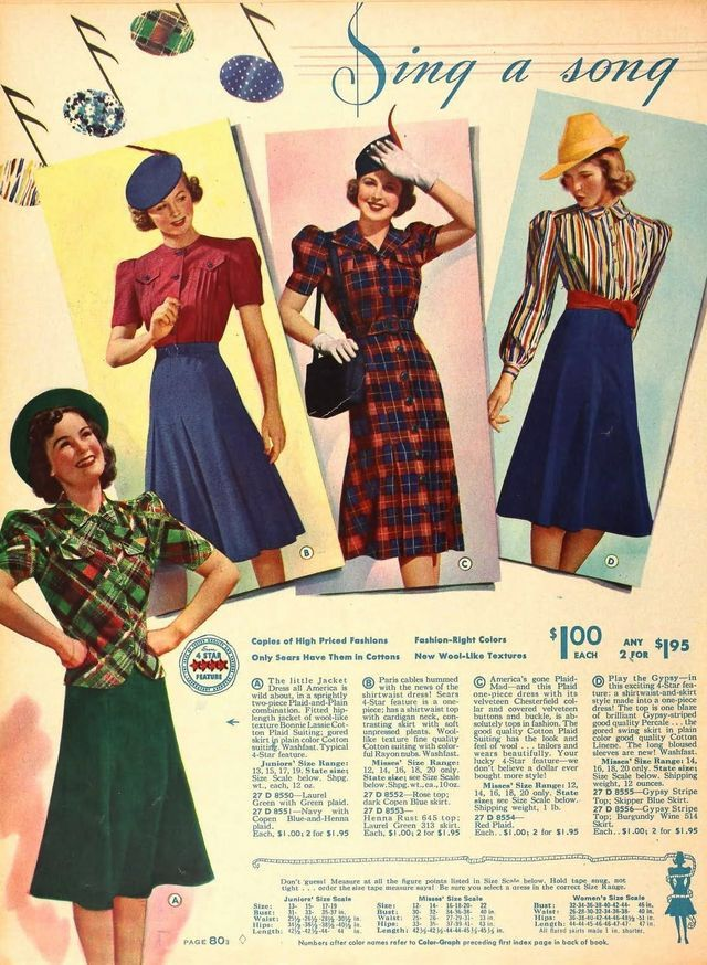 40s dress catalogue color illustration print ad skirt suit dress ...