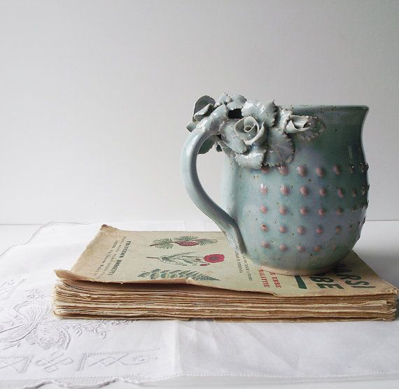 Stoneware Tea Cup  with roses Handmade Ceramics  - MADE TO ORDER - Stoneware  - light blue - mug