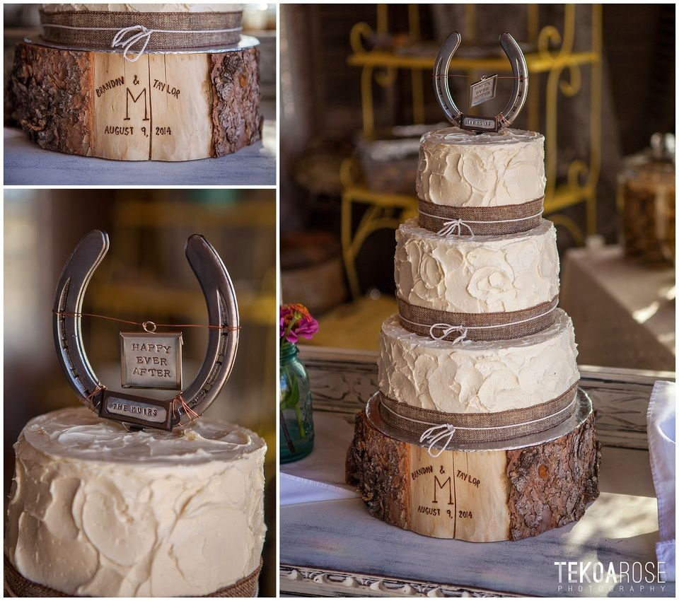 Country Style Wedding Cake With Horse Shoe Topper And Wood Block Stand