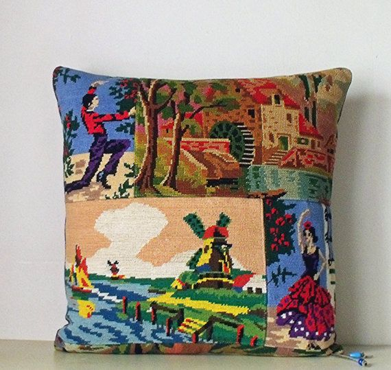 Collage French Needlepoint Tapestry & velvet by Retrocollects