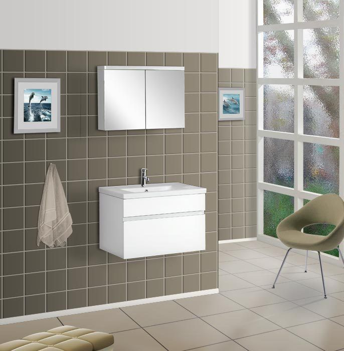 DreamLine Wall Mounted Modern Bathroom Vanity   W/Porcelain Counter And  Medicine Cabinet