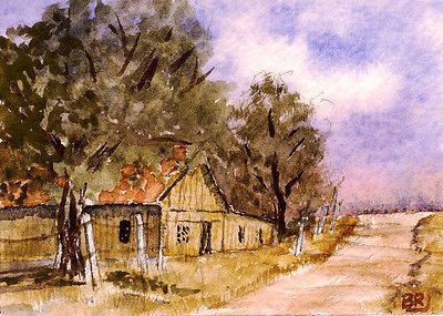 """Along the Backroad""-Original Watecolor ACEO by Barry Jones"