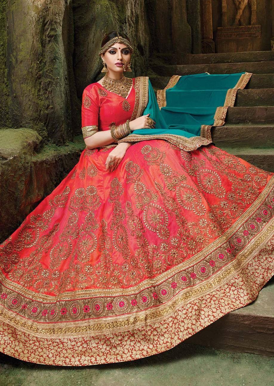 Splendid peach colored embroidered art silk festival lehenga choli