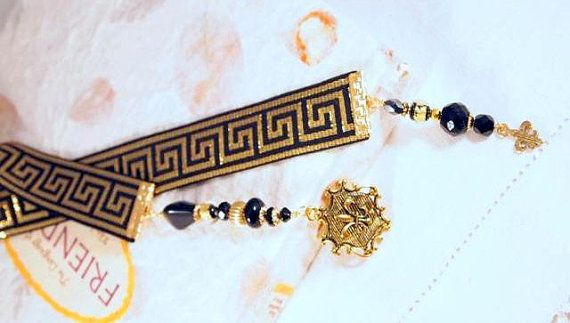 Greek Key Black and Gold Ribbon Glass and Gold by CKDesignsUS, $10.00