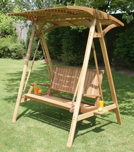 Medium image of fsc hardwood colonial 2 seater garden hammock swing seat with wooden canopy  3999 00