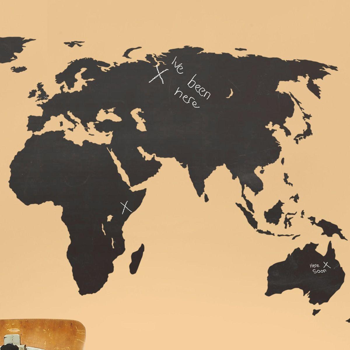 Chalkboard World map wall stickers | Pinterest | Wall sticker ...