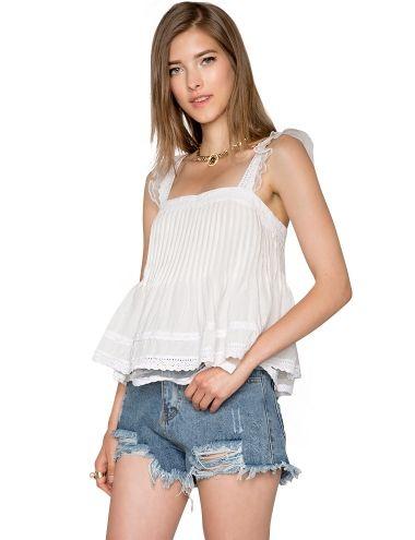 Cute Organza White Lace Top - Ruffled Sleeveless Top - $52