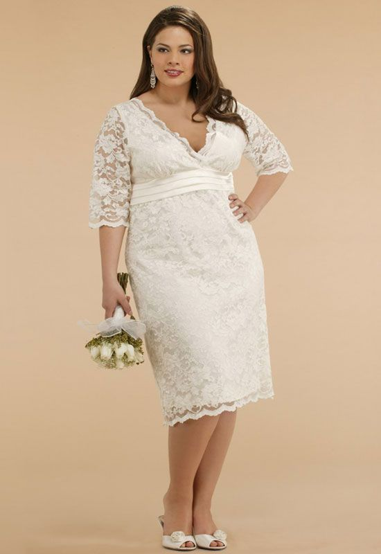 Custom Made Lace Plus Size V Neck Tea Length Wedding Gown Dress