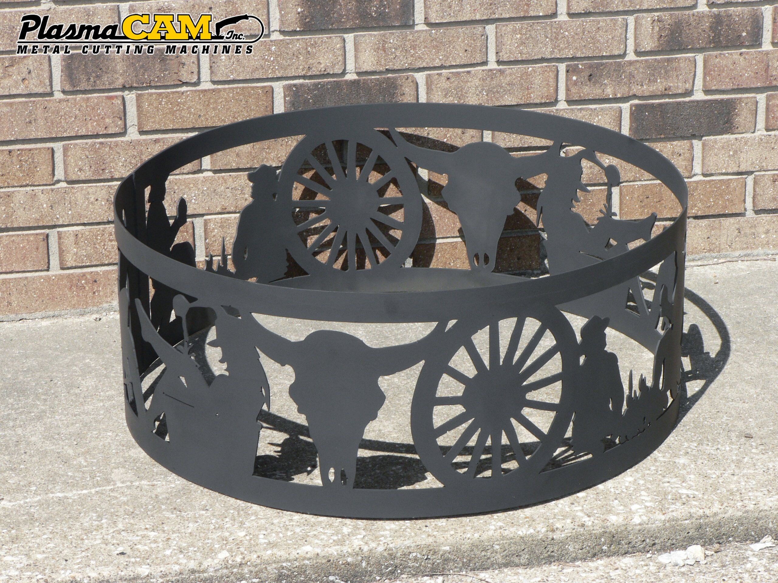 Western Design Wagon Wheel Cowboy Metal Fire Ring Design By