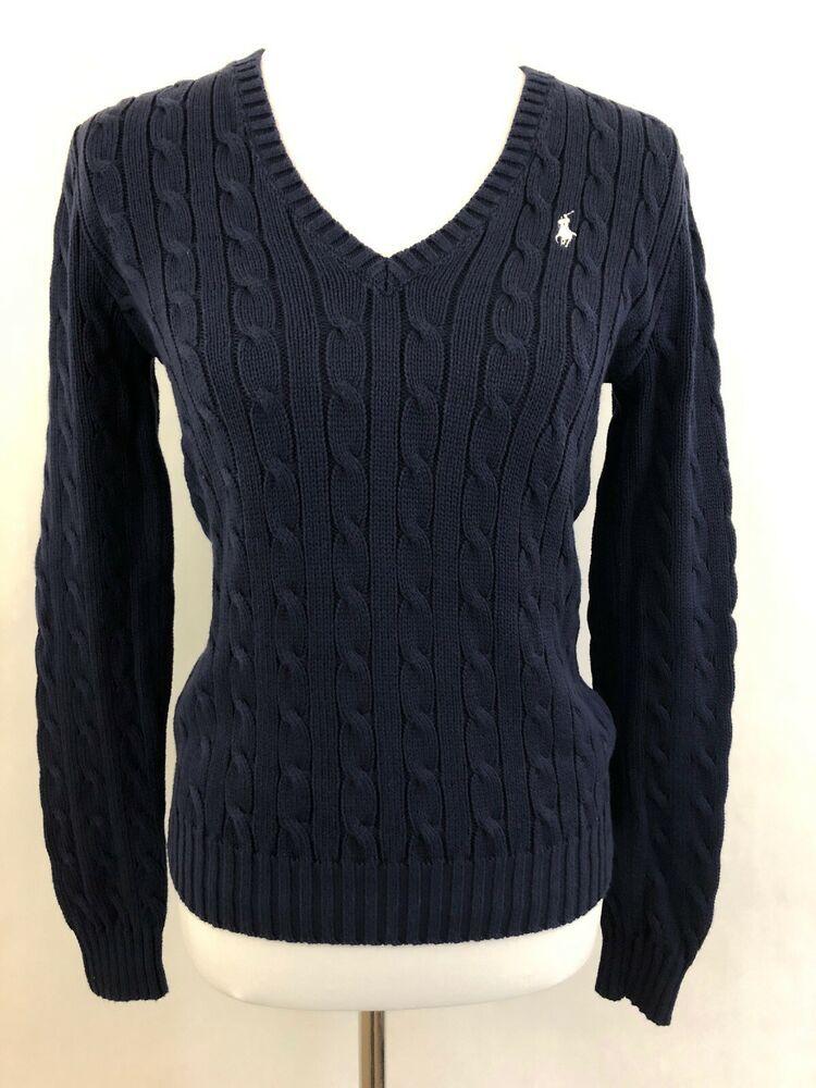 Ralph Lauren Polo Sport Womens Sweater Sz M V Neck Cable