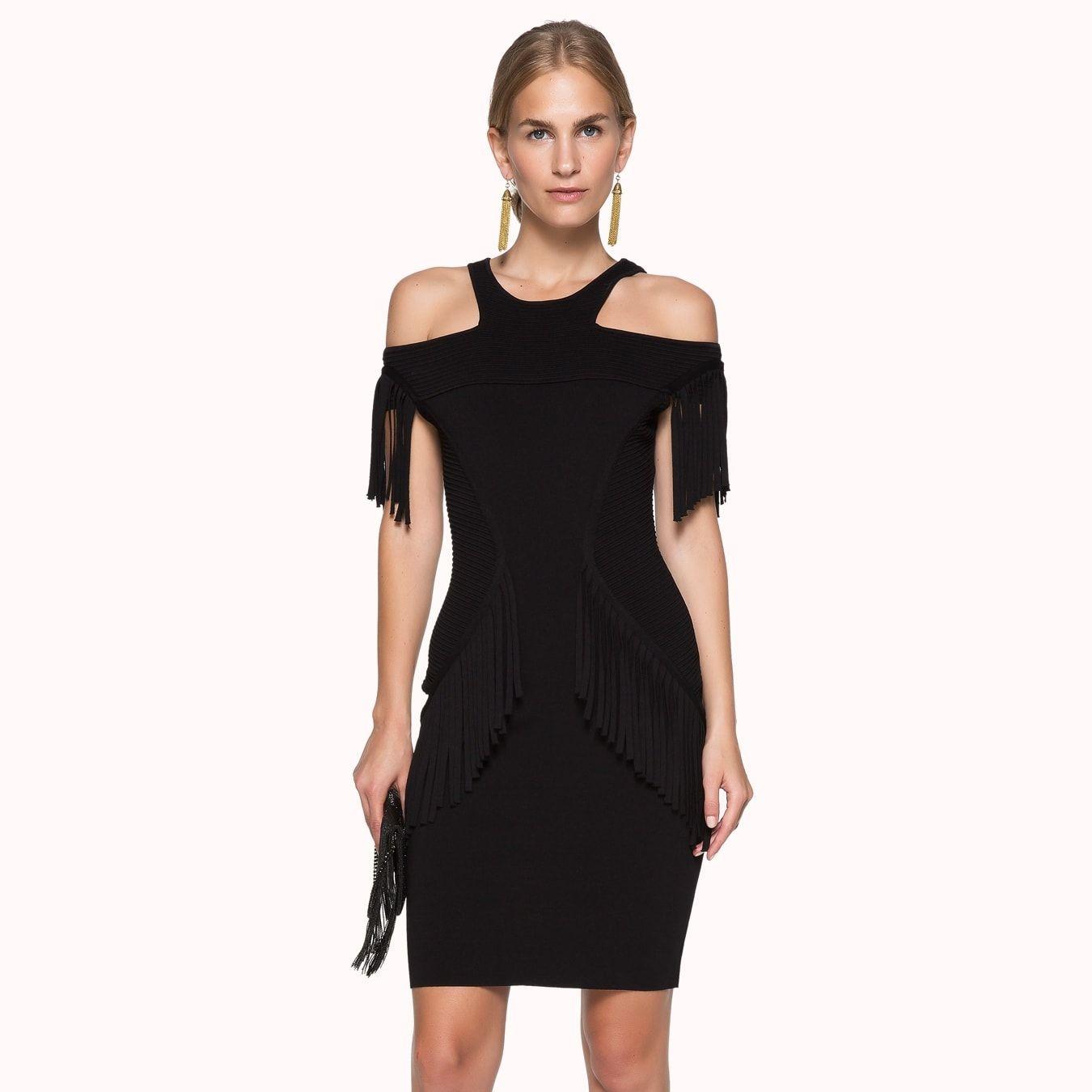 Siyah Nervur Detayli Omuz Dekolteli Puskullu Elbise Elbise Elbise Modelleri Kisa Elbise