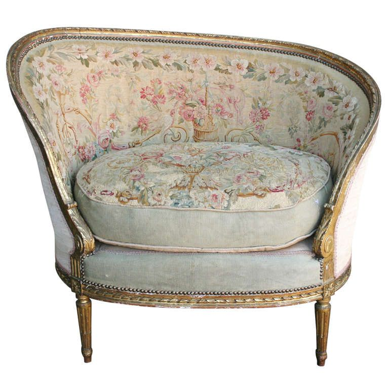 Cheap Antique Furniture For Sale Online: Louis XVI Bergère With Aubusson Tapestry