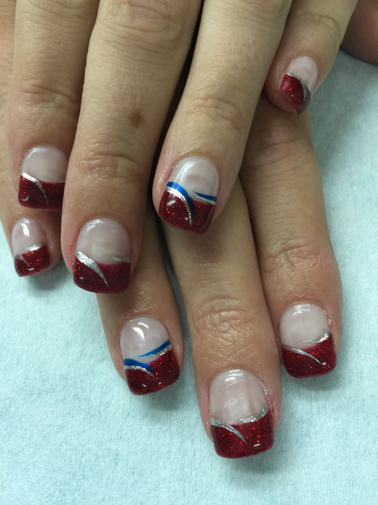 Patriotic 4th of July red glitter gel nails with silver and blue ...