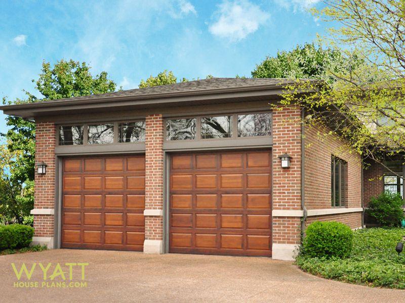 Windermere garage, two-car garage, house plan, wood garage doors ...