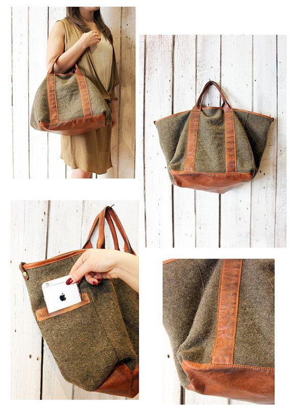 FRANCESCA a beautiful handmade Italian Vintage leathr and plaid bag ... b86e54f9a7e