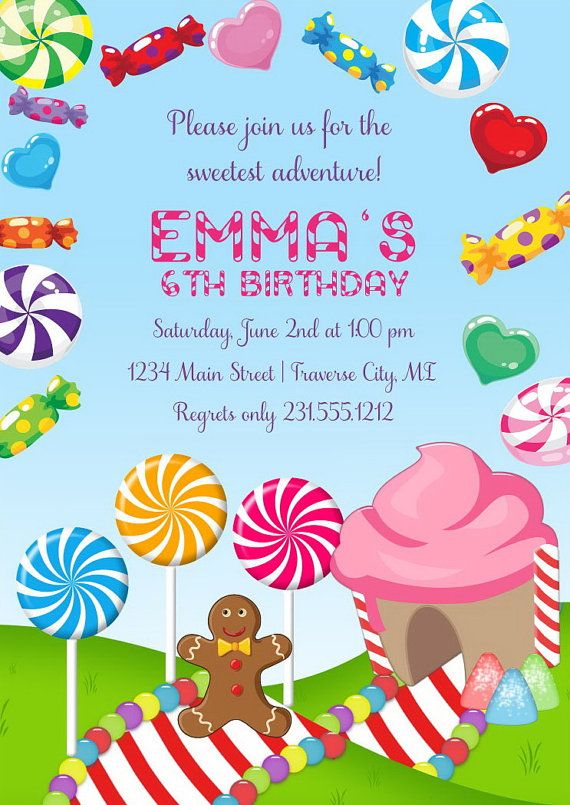 Templates Free Candyland Invitation Girls Birthday By AnnounceItFavors On Etsy Candy 4th Parties Girl