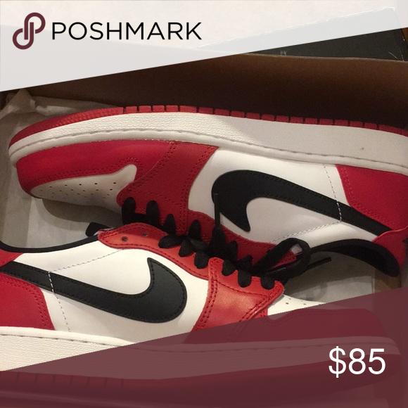 Air Jordan 1 low Never worn Red, black, and white Jordan Shoes Sneakers