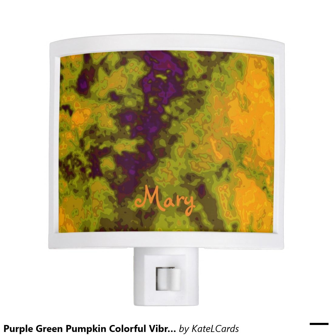 Purple Green Pumpkin Colorful Vibrant Night Lite