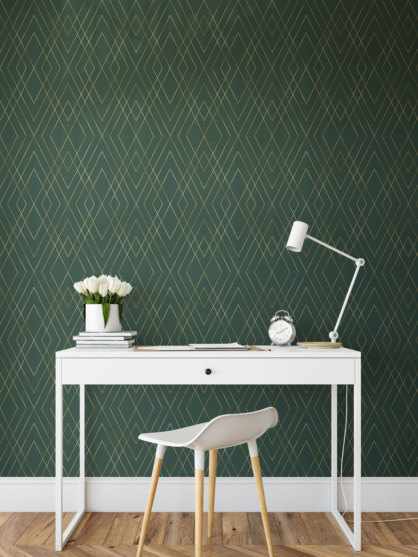 Green Gold Peel And Stick Wallpaper Self Adhesive Geometric Etsy In 2020 Accent Walls In Living Room Peel And Stick Wallpaper Green Accent Walls