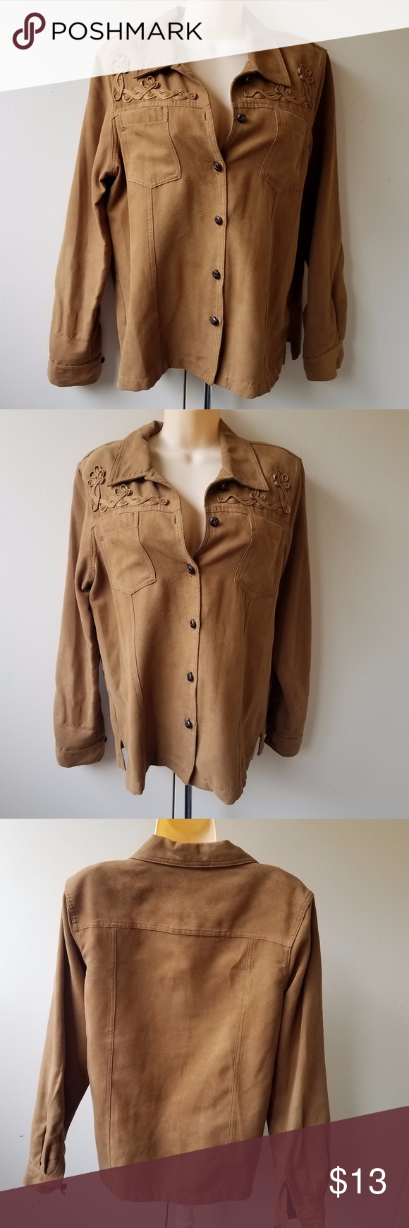 "NAPA VALLEY Women's Brown Button Down Shirt 100% poly Look/feel of brushed suede Measures 20"" from pit to pit & 25"" in length Excellent Condition Napa Valley Tops Button Down Shirts"