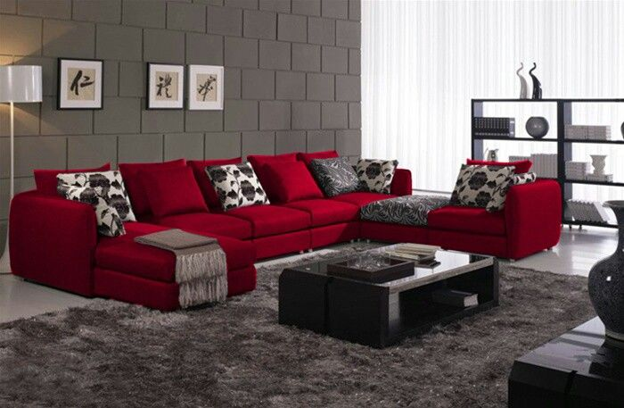 Red,black,Grey,white LR | Living room red, Red couch living ...